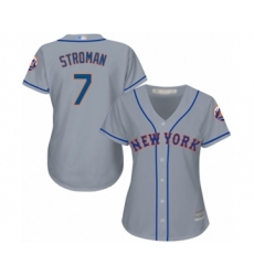 Women's New York Mets #7 Marcus Stroman Authentic Grey Road Cool Base Baseball Jersey