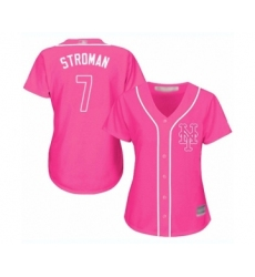 Women's New York Mets #7 Marcus Stroman Authentic Pink Fashion Cool Base Baseball Jersey