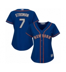 Women's New York Mets #7 Marcus Stroman Authentic Royal Blue Alternate Road Cool Base Baseball Jersey