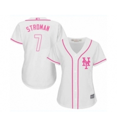 Women's New York Mets #7 Marcus Stroman Authentic White Fashion Cool Base Baseball Jersey