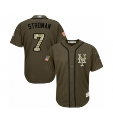 Youth New York Mets #7 Marcus Stroman Authentic Green Salute to Service Baseball Jersey