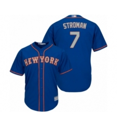 Youth New York Mets #7 Marcus Stroman Authentic Royal Blue Alternate Road Cool Base Baseball Jersey