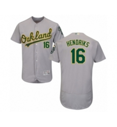 Men's Oakland Athletics #16 Liam Hendriks Grey Road Flex Base Authentic Collection Baseball Jersey