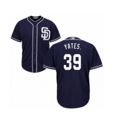 Youth San Diego Padres #39 Kirby Yates Authentic Navy Blue Alternate 1 Cool Base Baseball Jersey