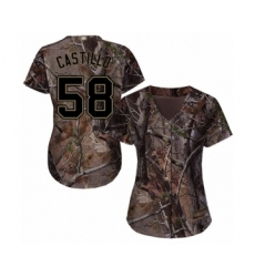 Women's Cincinnati Reds #58 Luis Castillo Authentic Camo Realtree Collection Flex Base Baseball Jersey