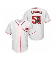 Youth Cincinnati Reds #58 Luis Castillo Authentic White Home Cool Base Baseball Jersey