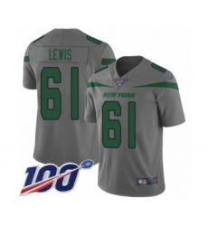 Men's New York Jets #61 Alex Lewis Limited Gray Inverted Legend 100th Season Football Jersey