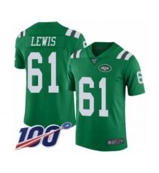 Men's New York Jets #61 Alex Lewis Limited Green Rush Vapor Untouchable 100th Season Football Jersey