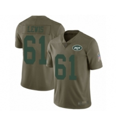 Men's New York Jets #61 Alex Lewis Limited Olive 2017 Salute to Service Football Jersey