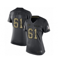 Women's New York Jets #61 Alex Lewis Limited Black 2016 Salute to Service Football Jersey