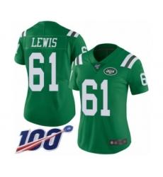 Women's New York Jets #61 Alex Lewis Limited Green Rush Vapor Untouchable 100th Season Football Jersey