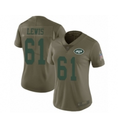 Women's New York Jets #61 Alex Lewis Limited Olive 2017 Salute to Service Football Jersey