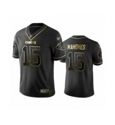 Men's Kansas City Chiefs #15 Patrick Mahomes Limited Black Golden Edition Football Jersey