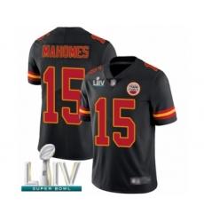 Men's Kansas City Chiefs #15 Patrick Mahomes Limited Black Rush Vapor Untouchable Super Bowl LIV Bound Football Jersey