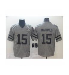 Men's Kansas City Chiefs #15 Patrick Mahomes Limited Gray Rush Gridiron Football Jersey