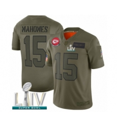 Men's Kansas City Chiefs #15 Patrick Mahomes Limited Olive 2019 Salute to Service Super Bowl LIV Bound Football Jersey