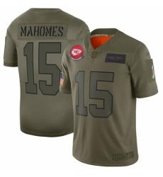 Youth Kansas City Chiefs #15 Patrick Mahomes Limited Camo 2019 Salute to Service Football Jersey