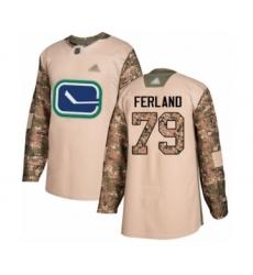 Men's Vancouver Canucks #79 Michael Ferland Authentic Camo Veterans Day Practice Hockey Jersey