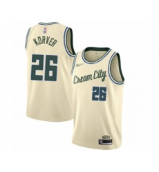 Men's Milwaukee Bucks #26 Kyle Korver Swingman Cream Basketball Jersey - 2019 20 City Edition