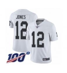 Men's Oakland Raiders #12 Zay Jones White Vapor Untouchable Limited Player 100th Season Football Jersey