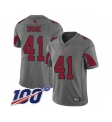 Men's Arizona Cardinals #41 Kenyan Drake Limited Silver Inverted Legend 100th Season Football Jersey
