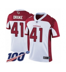 Men's Arizona Cardinals #41 Kenyan Drake White Vapor Untouchable Limited Player 100th Season Football Jersey