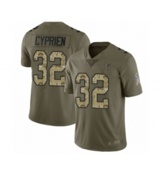 Men's Atlanta Falcons #32 Johnathan Cyprien Limited Olive Camo 2017 Salute to Service Football Jersey