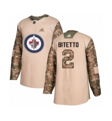 Men's Winnipeg Jets #2 Anthony Bitetto Authentic Camo Veterans Day Practice Hockey Jersey