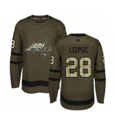 Men's Washington Capitals #28 Brendan Leipsic Authentic Green Salute to Service Hockey Jersey