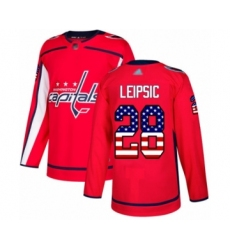 Men's Washington Capitals #28 Brendan Leipsic Authentic Red USA Flag Fashion Hockey Jersey