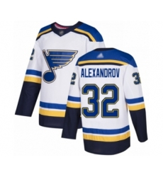 Youth St. Louis Blues #32 Nikita Alexandrov Authentic White Away Hockey Jersey