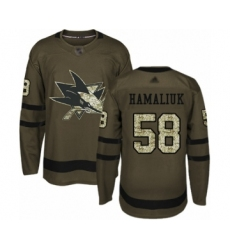 Men's San Jose Sharks #58 Dillon Hamaliuk Authentic Green Salute to Service Hockey Jersey