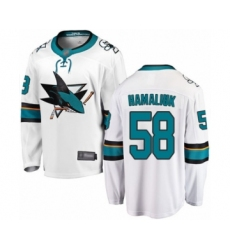 Men's San Jose Sharks #58 Dillon Hamaliuk Fanatics Branded White Away Breakaway Hockey Jersey
