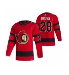 Men's Ottawa Senators #28 Connor Brown Red 2020-21 Reverse Retro Alternate Hockey Jersey