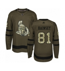 Men's Ottawa Senators #81 Ron Hainsey Authentic Green Salute to Service Hockey Jersey