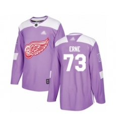 Men's Detroit Red Wings #73 Adam Erne Authentic Purple Fights Cancer Practice Hockey Jersey