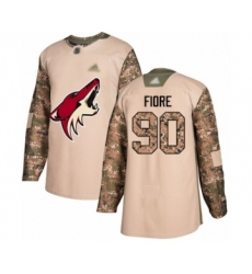 Men's Arizona Coyotes #90 Giovanni Fiore Authentic Camo Veterans Day Practice Hockey Jersey