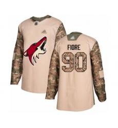 Men's Arizona Coyotes #90 Giovanni Fiore Authentic Camo Veterans Day Practice Hockey Jersey