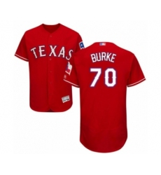 Men's Texas Rangers #70 Brock Burke Red Alternate Flex Base Authentic Collection Baseball Player Jersey