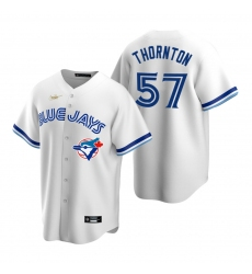 Men's Nike Toronto Blue Jays #57 Trent Thornton White Cooperstown Collection Home Stitched Baseball Jersey