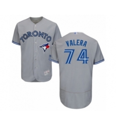 Men's Toronto Blue Jays #74 Breyvic Valera Grey Road Flex Base Authentic Collection Baseball Player Jersey