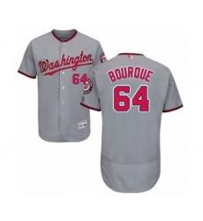 Men's Washington Nationals #64 James Bourque Grey Road Flex Base Authentic Collection Baseball Player Jersey