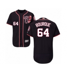 Men's Washington Nationals #64 James Bourque Navy Blue Alternate Flex Base Authentic Collection Baseball Player Jersey
