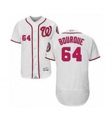 Men's Washington Nationals #64 James Bourque White Home Flex Base Authentic Collection Baseball Player Jersey