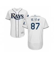 Men's Tampa Bay Rays #87 Jose De Leon Home White Home Flex Base Authentic Collection Baseball Player Jersey