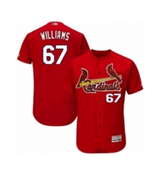 Men's St. Louis Cardinals #67 Justin Williams Red Alternate Flex Base Authentic Collection Baseball Player Jersey