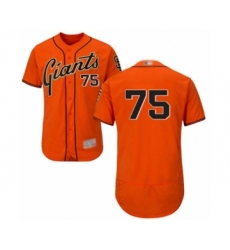Men's San Francisco Giants #75 Enderson Franco Orange Alternate Flex Base Authentic Collection Baseball Player Jersey
