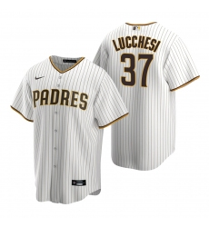 Men's Nike San Diego Padres #37 Joey Lucchesi White Brown Home Stitched Baseball Jersey
