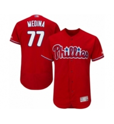 Men's Philadelphia Phillies #77 Adonis Medina Red Alternate Flex Base Authentic Collection Baseball Player Jersey