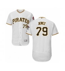 Men's Pittsburgh Pirates #79 Williams Jerez White Home Flex Base Authentic Collection Baseball Player Jersey